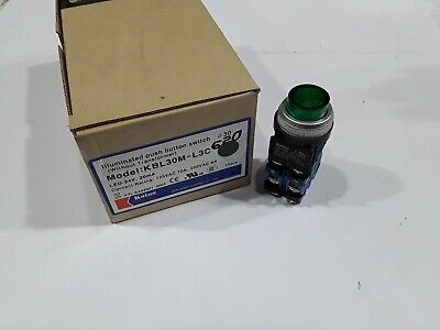 KBL30M-L3C Koino 30mm 250VAC 6A Green Illuminated Push Button Switch NEW (Illuminated Push Button Switches)