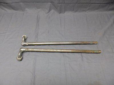 Pr Original Antique Nickel Brass Clawfoot Bathtub Feed Lines Elbows Vtg 147-17E