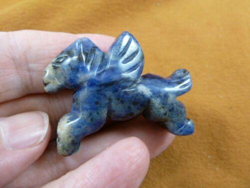 (Y-PEG-RU-571) blue wild PEGASUS flying gemstone winged horse Figurine carving