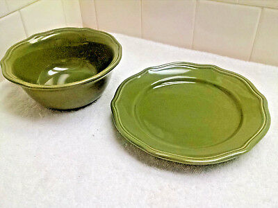 Home Trends Emerald Bay  Moss Green Soup/Ceral Bowl & Salad Plate 2 pieces XLNT!