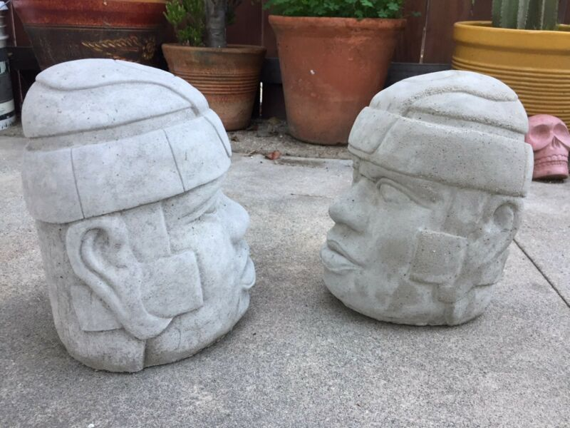 Set of Two Pre-Columbian Handmade Large Olmec Head Sculptures