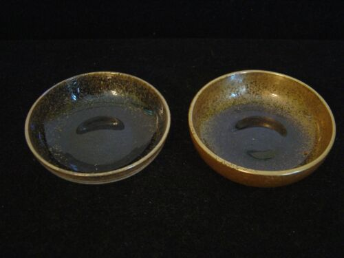 """VINTAGE PAIR OF CLEAR GLASS BUTTER PATS  WITH GOLD IRIDESCENT RIMS 2-5/8"""""""