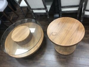 Round walnut & glass coffee table & 1 Side table