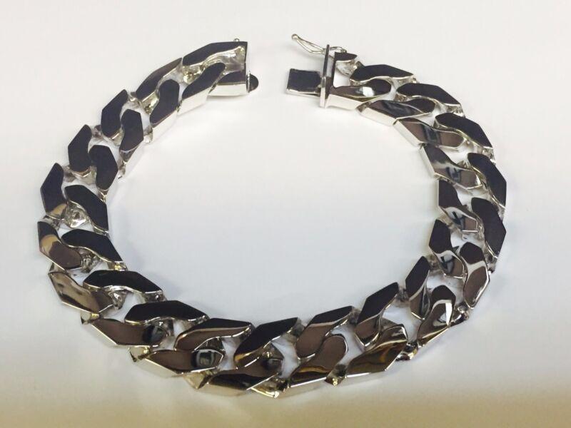 """14kt Solid White Gold Handmade Curb Link Men Bracelet 9.5"""" 105 Grms 14.5mm"""
