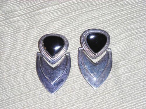 Modern Look Sterling Silver & Black Onyx Pierced Earrings Dangle Beautiful