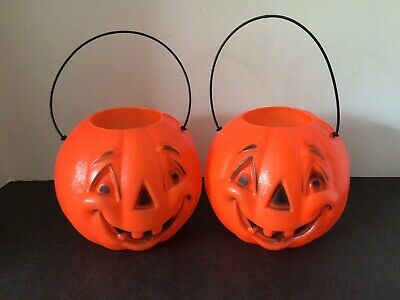 """2 VTG HALLOWEEN JACK-O-LANTERN TOOTHY 5""""x6"""" TRICK OR TREAT CANDY PAIL BUCKETS"""