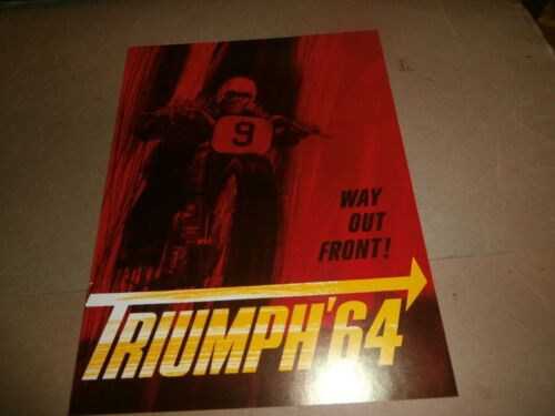 Vintage 1964 Triumph Way Out Front  Motorcycle Advertising Brochure
