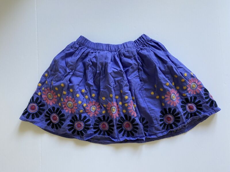 Tea Collection purple skirt w/ embroidered flowers girls sz 7