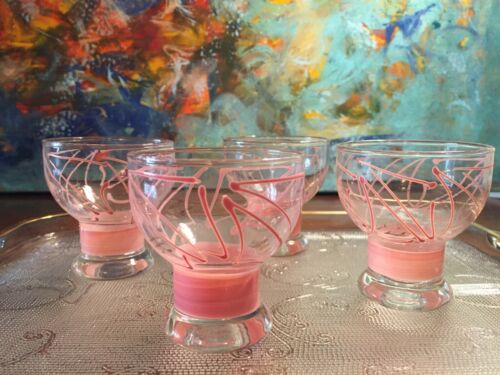 Set of 4 Adorable Mid Century Modern Glasses w/ Pink and Gold Accents