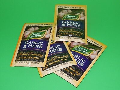 New Lot 4 Packets Good Seasons Garlic & Herb Salad Dressing & Recipe Mix