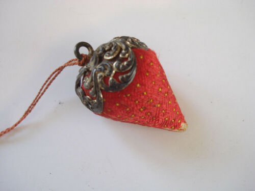 19thc ~ Sewing Needle Sharpening ~ Emery Filled Strawberry with Sterling Cap