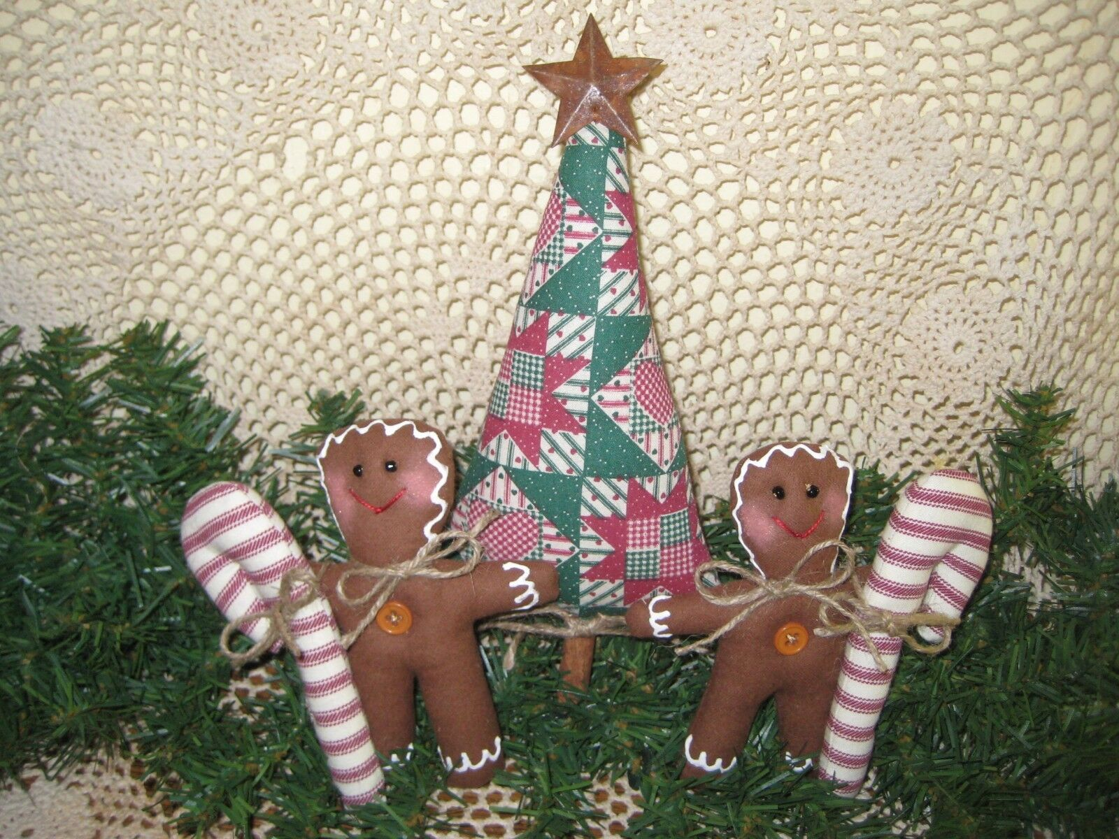 Handmade Christmas Patchwork Fabric Tree Gingerbread Candy Canes Bowl Fillers - $21.95