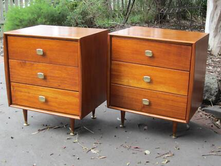 vintage mid century retro Alrob chest drawers / bedside tables