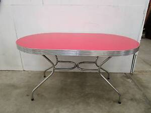 C47086 Fantastic Funky RETRO Chrome Red Oval Dining Kitchen Table Unley Unley Area Preview