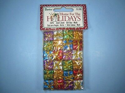Holographic Christmas Decorations (Miniature Holographic Foil Gift Boxes Christmas Presents decoration 24 pc. 1/2