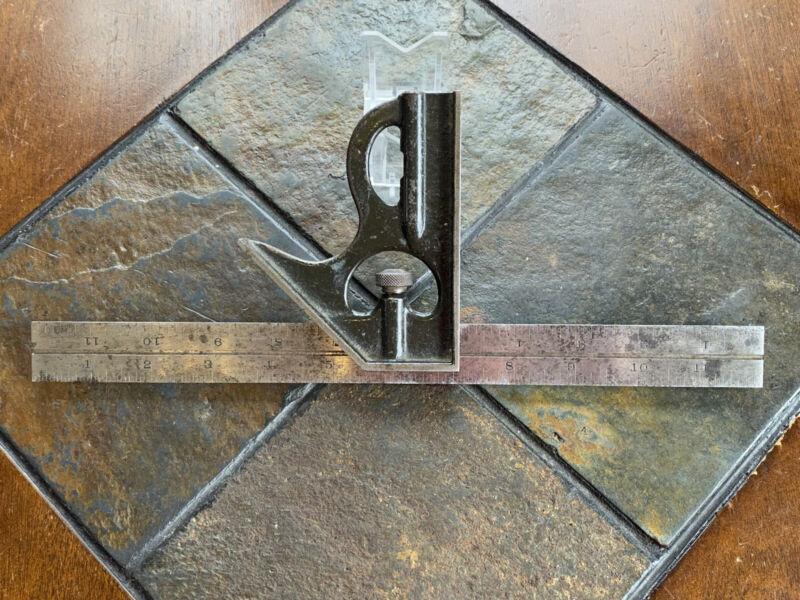 "The Lufkin Rule Co. 12"" Vintage Combination Square & No. 4 Grad Steel Rule Set"