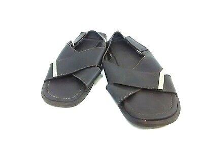 Auth LOUIS VUITTON DarkBrown Leather MA0014 Sandals US#8 Men