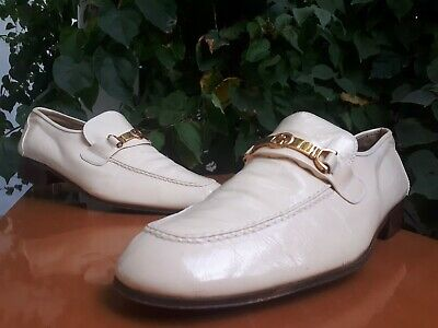 Vintage Gucci GG Gold Hardware Men's Ivory Leather Loafers Size US 10 EU 43.5 M