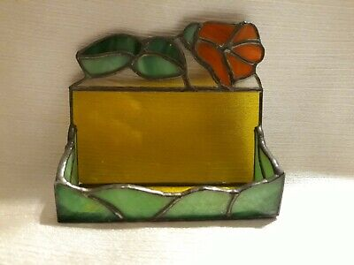 Beautiful Vintage Stained Glass Business Card Holder