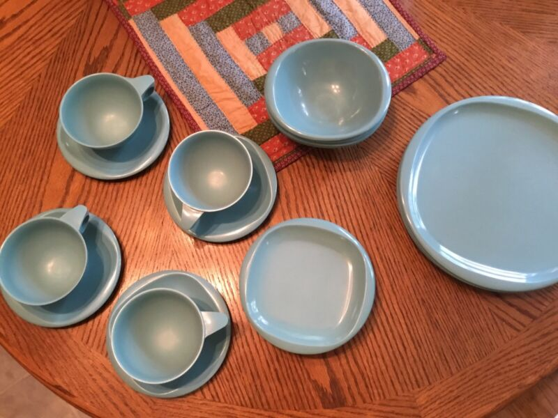 Mid Century Boonton Ware 20 PC Table Ware Lot Turquoise Melamine Melmac