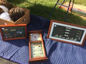 two ; nice golf shadow box pictures;and clock;phone wayne 333999