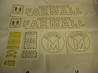 Ihc Farmall Model Super M Tractor Decal Set - Vinyl Cut New Free Shipping