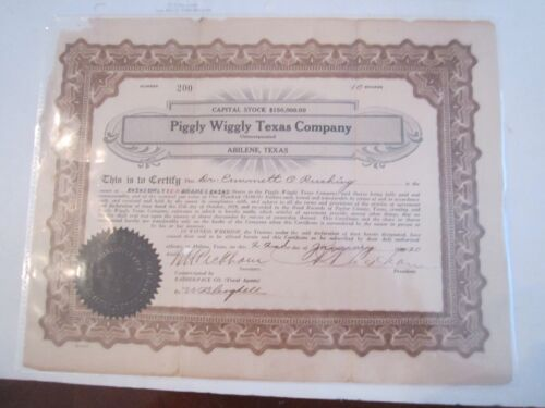 1920 PIGGLY WIGGLY TEXAS COMPANY STOCK CERTIFICATE - ZZZ