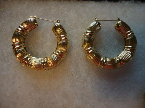 Vintage/nos gold tone filigree huge hoop earrings