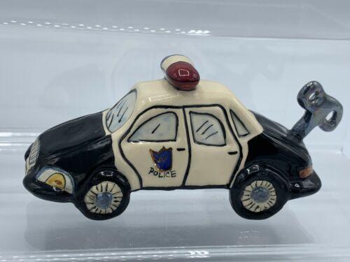 Blue Sky Clayworks Vangroup Ceramic Police Car w/ Faux Wind-Up Key 319404 w/ Box