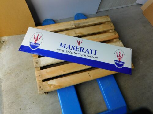 MASERATI - European Garage Dealer - Genuine Porcelain Enamel Logo Sign / Shield