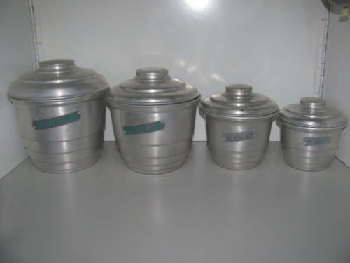 Retro Vintage Beehive Style Aluminium Canisters In Very Good Condition