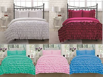 Katy 3 Piece Mini Ruffle Comforter Set Bed Cover New Arrival All Sizes 9 Colors! 3 Piece Mini Comforter