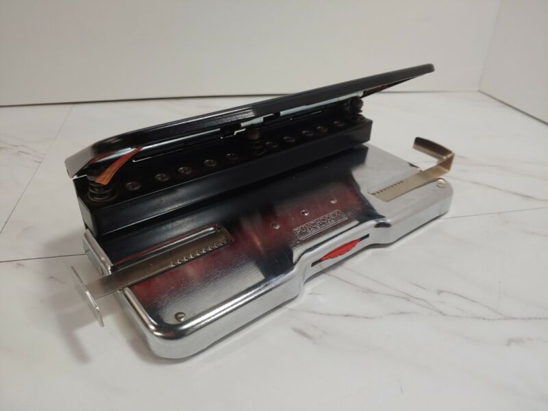 Punchodex P-100 Sturdy Adjustable Three Hole Punch by Rolodex USA Paper Guides