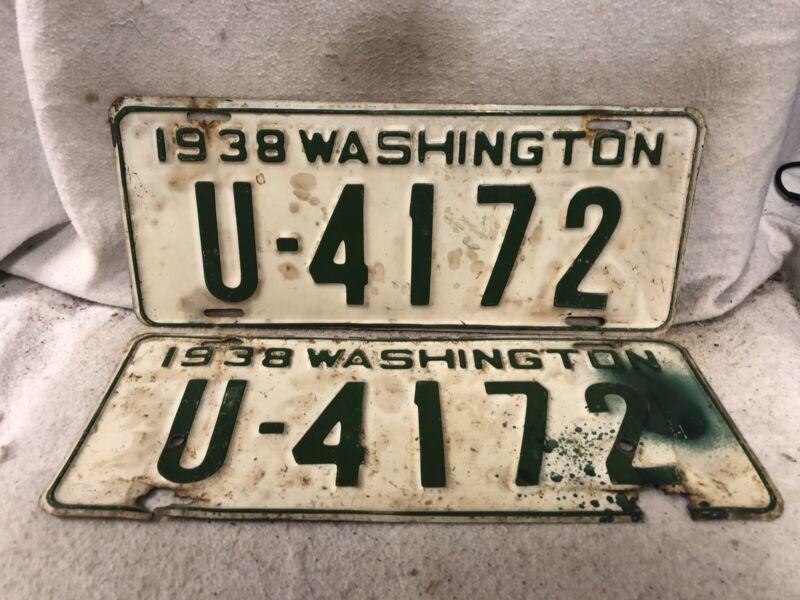 Vintage 1938 Washington License Plate Pair