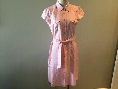 J McLaughlin Pink Dress 0 Women's New Silk Solid Belted Shirt Button belted