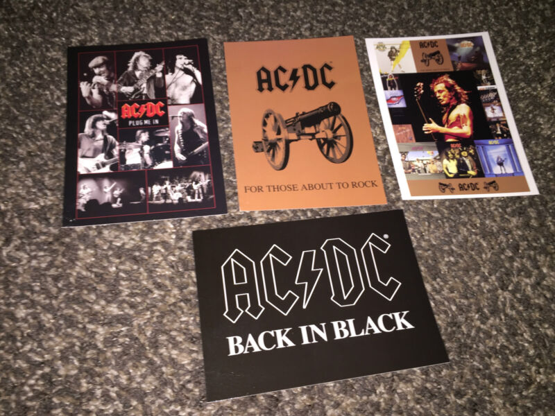 AC/DC set of 4 postcards_Album Art/Band collage Malcolm Young