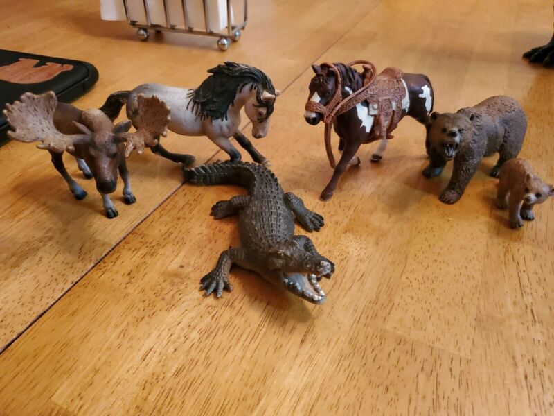 Schleich Horses with Saddle, Bears, Moose, Alligator Figures