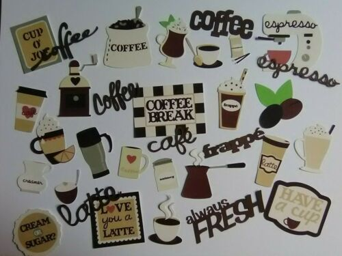 30 pc COFFEE related diecuts in PRINT & brown words for scrapbook greeting card