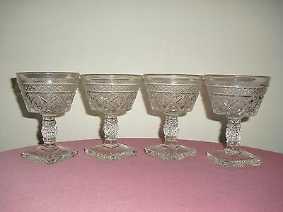 4 IMPERIAL Cape Cod Clear Glass Long Stem Wine / Champagne Goblets