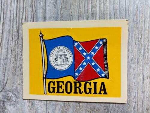 VINTAGE GEORGIA FLAG GREAT WESTERN ENT. SOUVENIR TRAVEL WINDOW LUGGAGE DECAL