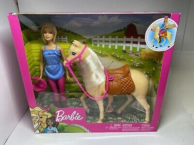 Blonde Barbie Doll with Riding Horse and Accessories Playset, Play Set is NEW