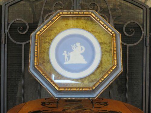 Vintage Blue Jasperware Venus & Cupid Round Cameo Octagonal Gilt Framed Plaque