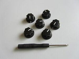 6x guitar 1 4 mini mxr style amp knobs effect pedal knob w set screw black ebay. Black Bedroom Furniture Sets. Home Design Ideas