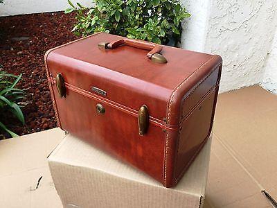 Vintage Leather Samsonite Luggage Shwayder Train Makeup Case Luggage 4912 Brown