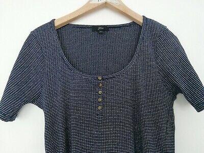 J. Crew T Shirt Jersey Top Medium Indigo Blue & White 95%Cotton 5%elastane