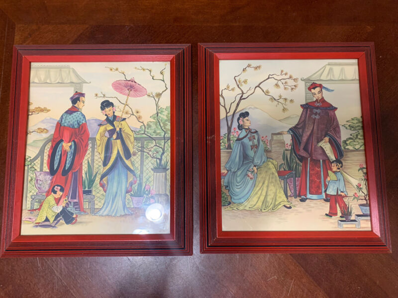 """Vintage Japanese Asian Framed Pictures Red Art Wood Framed 14x12"""" Each Estate"""