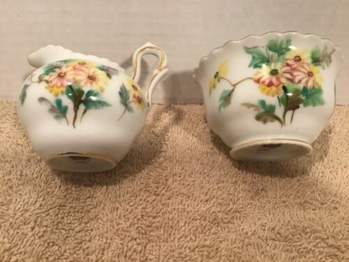 CHUBU CHINA CHERRY EXCLUSIVE JAPANESE SMALL CREAMER OPEN SUGAR FLORAL GOLD TRIM