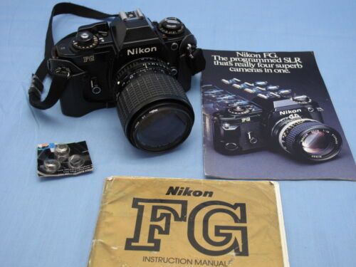 Nikon FG Black with Sigma 35-70mm f2.8 Lens, Book, Batteries WORKING!