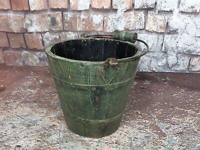 Vintage Indian Green Rustic Wooden Display Bucket Planter