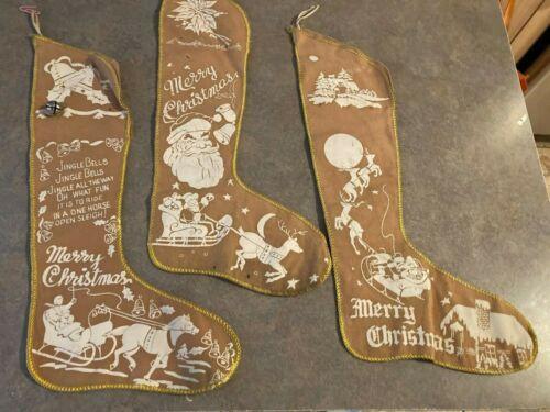 "Set of 3 VINTAGE 15"" Tan/brown Christmas STOCKINGS"